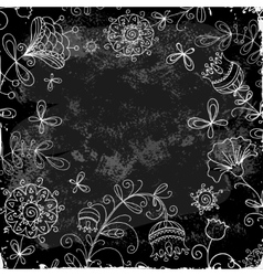 flower doodle on a background of black plank vector image