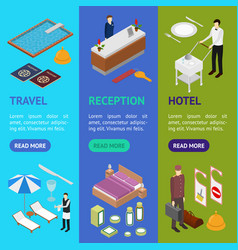 hotel service banner vecrtical set isometric view vector image
