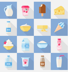 milk product flat icon set vector image