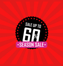 season sale banner sale up to 60 percent off vector image vector image