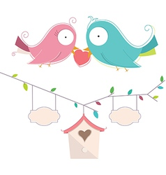 Of Two Cute Birds In Love Wedd vector image