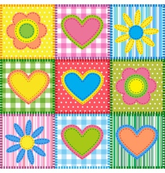 Patchwork with hearts vector image vector image