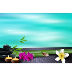 Stone wax flowers and bamboo blue sea background vector image