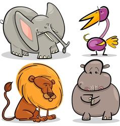 cute cartoon african animals set vector image