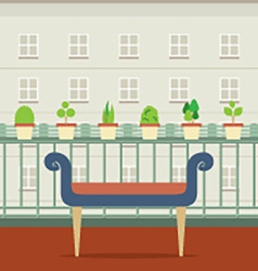Empty Bench At Balcony With Pot Plant vector image