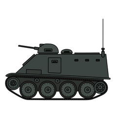 Old small armored tracked vehicle vector