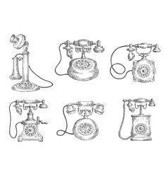 Vintage isolated rotary dial telephones sketches vector image
