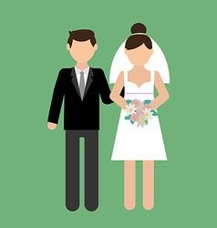 wedding couple with wedding dress vector image