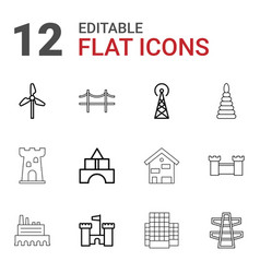 12 tower icons vector