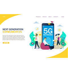 5g network website landing page design vector image