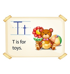 A letter t for toys vector
