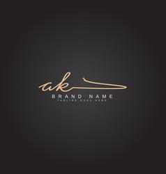 Ak initial letter logo handwritten signature logo vector