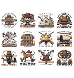 American wild west saloon sheriff cowboy rodeo vector