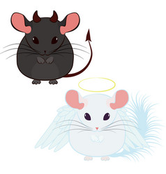 angel and devil good and bad chinchilla vector image