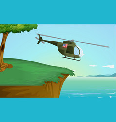 army helicopter in nature vector image