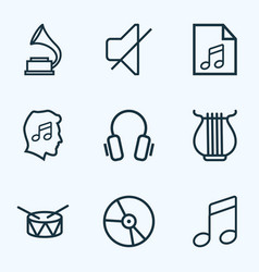 Audio icons line style set with headphone vinyl vector