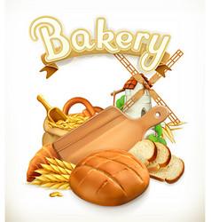 Bakery bread 3d logo vector