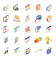 Banking and finance icons in modern isometric sty vector