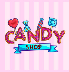 banner for candy shop with sweets vector image