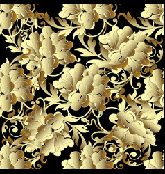 Baroque gold 3d flowers seamless pattern vector