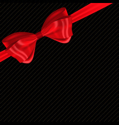 beautiful background with silk red bow and ribbon vector image