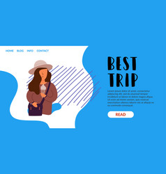 best travel trip woman with a bag vector image