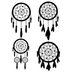 Black silhouette set four dreamcatcher native vector