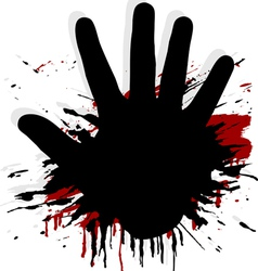 blood splat with a hand vector image