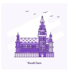 brussels tower landmark purple dotted line skyline vector image