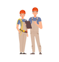 Builders man and woman in gray overalls vector