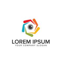 Camera lens logo design concept template vector