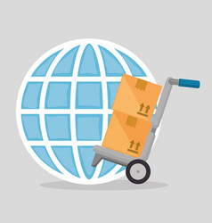 cart with boxes and planet vector image