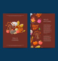 cartoon autumn elements and leaves card vector image