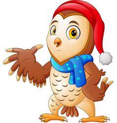 cartoon christmas owl presenting vector image