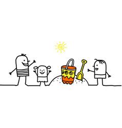 Cartoon family on the beach vector