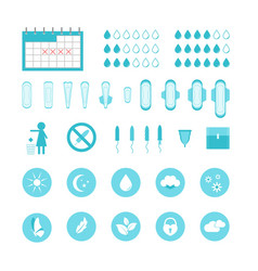cartoon feminine hygiene products icons set vector image