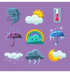 Cartoon weather icons set vector
