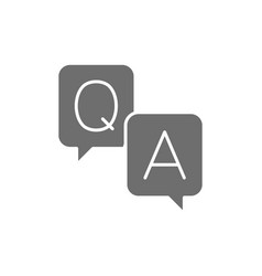 Chat cloud question with answer sign grey icon vector
