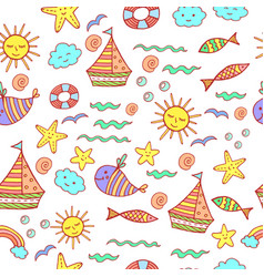 Children seamless pattern with doodle beach vector
