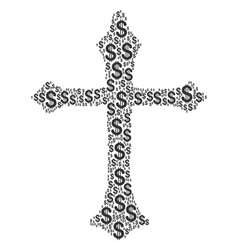 christian cross collage of dollar vector image