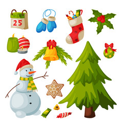 Christmas and new year symbols collection vector