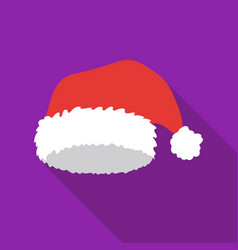 Christmas cap icon in flat style isolated on white vector