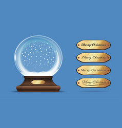 christmas empty snow globe with interchangeable vector image