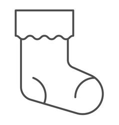 Christmas stocking thin line icon xmas sock vector