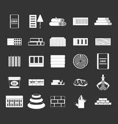 construction materials icon set grey vector image