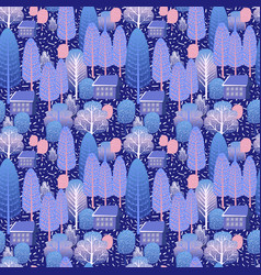 Cute winter trees on dark blue background for vector