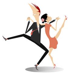 Dancing young couple isolated vector