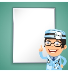doctor points on board vector image