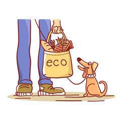 Eco bag color with eco bag shopping vector