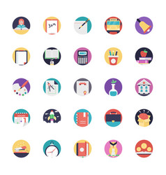 flat icons pack of education vector image